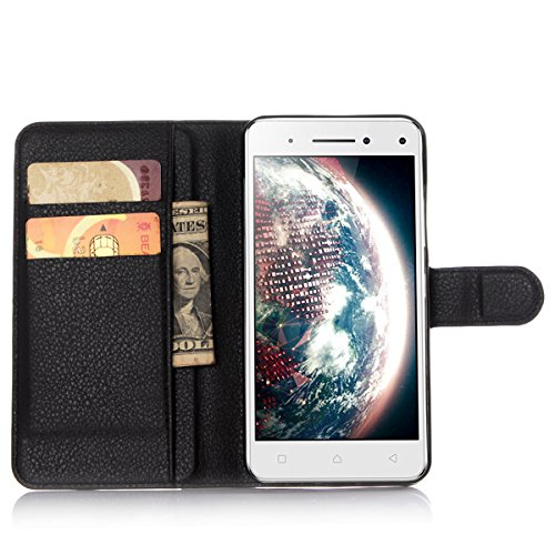 Lenovo Vibe S1 Case,Gift_Source [Black] [Stand Feature] [Anti-Scratches] Magnetic Snap Case Premium Luxury Wallet Flip Case Built-in Card Slots Case Cover for Lenovo Vibe S1 smartphone