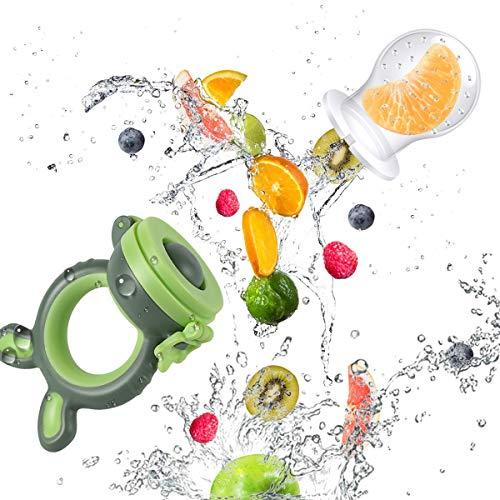 ANGELBLISS Fruchtsauger Baby/Schnuller, Schätzchen Schnuller Gemüse sauger für 3-24 Monate, 6 Silikonbeutel Beißspielzeug,BPA-frei(2 Stück) - 3