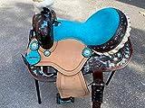 Equipride - Sella occidentale con pettorale in coordinato, 100% pelle, colore: marrone/blu, misura 30,5 - 33 - 35,6 cm (30,5 cm)