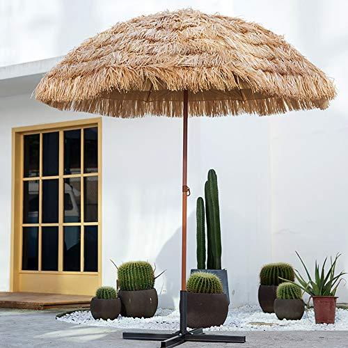 Parasol Simulierter Stroh-Sonnenschirm, kippbarer Sonnenschirm auf der Gartenterrasse, hawaiianischer Klapp-Strohschirm, bodenloses 2,4 m (94 Zoll) -natürliches Stroh