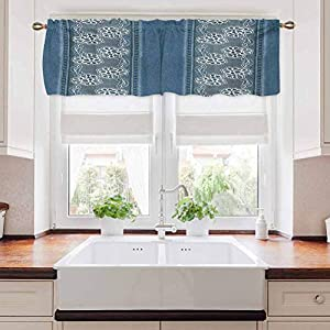 carmaxs Floral Valances for Bedroom, Blue Jeans Background with White Flower Motifs Pattern Denim Themed Digital, Blue White