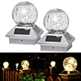 LIANGLOME Outdoor Solar Post Light ,Crackle Glass Ball Waterproof LED Solar Post Cap Light,Fits 3.5x3.5 4x4 5x5 6x6 Wooden Posts , for Yard Garden Patio Decoration Warm White 2 Pack