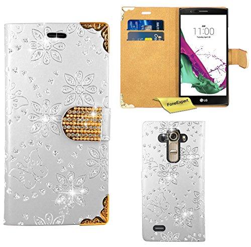LG G4 Handy Tasche, FoneExpert® Bling Luxus Diamant Hülle Wallet Case Cover Hüllen Etui Ledertasche Premium Lederhülle Schutzhülle für LG G4 (Weiß)