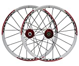 LSRRYD 20 Pulgadas BMX Llanta Bicicleta Plegable Bicicleta Montaña Ruedas Juego Disco Freno Liberación Rápida Ruedas 1580g 20 Agujeros Buje para 7/8/9 Velocidad Card (Color : Red, Size : 406)
