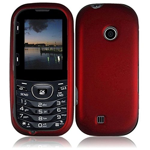 For LG Cosmos 3 VN251S Cosmos 2 VN251 Rubberized Hard Cover Case Red Accessory