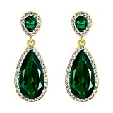 EVER FAITH Mujer Cristal Rhinestone Clásico Lágrima Perforado Colgante Pendientes Verde Tono Dorado