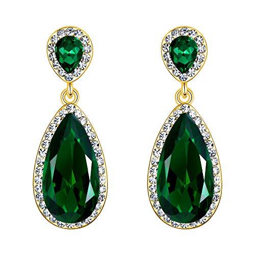 EVER FAITH Mujer Cristal Rhinestone Clásico Lágrima Perforado Colgante Pendientes Verde Tono...