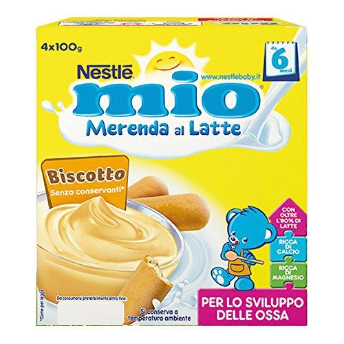 Nestlé Mio Merenda al Latte Biscotto da 6 Mesi 4 Vasetti Plastica da 100g [400 gr]