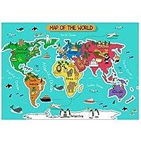 子供のための動物の世界地図壁アートポスターHdプリントキャンバス絵画家の装飾リビングルームアートワークギフト寝室の装飾-50x70CMフレームなし