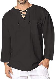 Camiseta De Hombre Camisa De Lino De Algodón Retro Tamaños Cómodos Camiseta De Manga Larga con Cuello En V Informal Camisa...