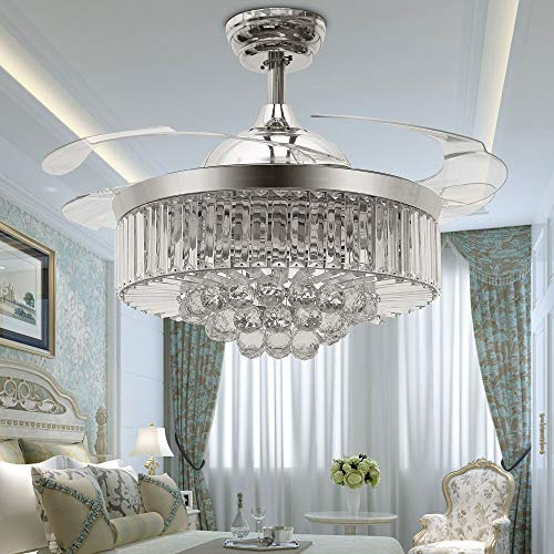TiptonLight Modern Crystal Ceiling Fan with Lights, 42 Inch...