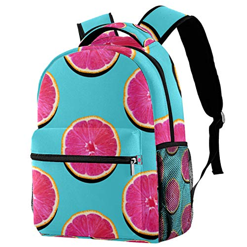 LAZEN Zaino classico scolastico Zaino da viaggio leggero Zaino per laptop per donne Adolescenti uomini Giacevano Fruttato Carne rosa su sfondo turchese