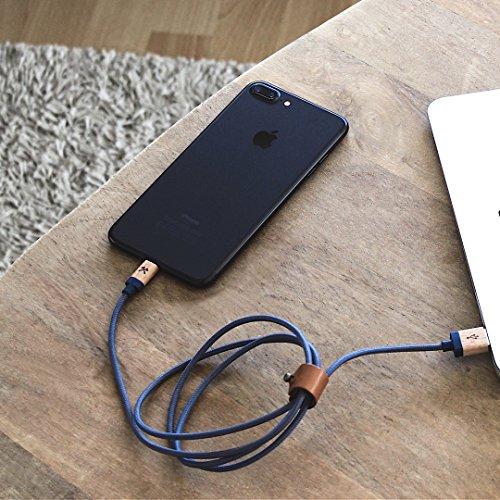 Woodcessories - Kabel kompatibel mit Apple Lightning Produkten aus Holz & Nylon - EcoCable (Ahorn/Blau)