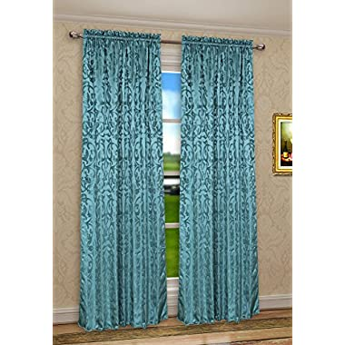 Pack of 2, CaliTime Rod Pocket Window Curtains Panels for Bedroom, Damask Vintage Floral, Each 56 by 84 Inches, Total 112 X 84 Inches, Teal