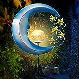Solarlampe für Außen mit Wasserdichte IP65 Wasserdicht, Metall Mond LED Stake Dekorative Gartenfahlständer Solarleuchte im Freien Gartendeko modern gartenlampe für Terrasse, Weg, Hof, Rasen