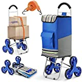 Winkeep Upgraded Shopping Trolley, 2in1 Folding Shopping Cart 75l Capacity & Hand Truck Super Loading 50kg Labor Saving for Stair Climbing with Adjustable Bungee Cord, 3 Large Noiseless Wheels