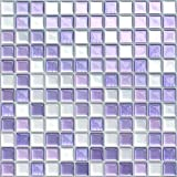 VANCORE 3D Mosaic Sticker Peel and Stick Tile Backsplash Contact Paper for Home Kitchen, Pack of 4, Purple