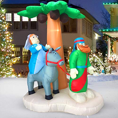 HappyThings! Christmas Inflatables Outdoor Decorations for The Yard Blow Up Nativity Sets Journey to Bethlehem w/LED Lights and Blower for The Holidays 7x5.5x4 ft