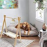 awagas ペット用ハンガー 木製 犬服ハンガーラック ペットのコートラック 人形服ラック ペット服収納 ハンガーラック 犬 猫 シンプル 衣類整理 おもちゃ収納 パールハンガー6個付き(ベージュ)