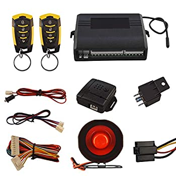 Car Security Alam Keyless Entry System with 2 Remote Controls & Siren Sensor 12V Universal Remote Auto Door Lock/Unlock & Trunk Rlease
