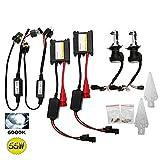 H4-3 Kit de conversión HID, OSAN 55W H4 Hi/Lo 6000K Auto Bi-Xenon Light Lámpara HID Ultra Thin ultra brillante + Control de lastre
