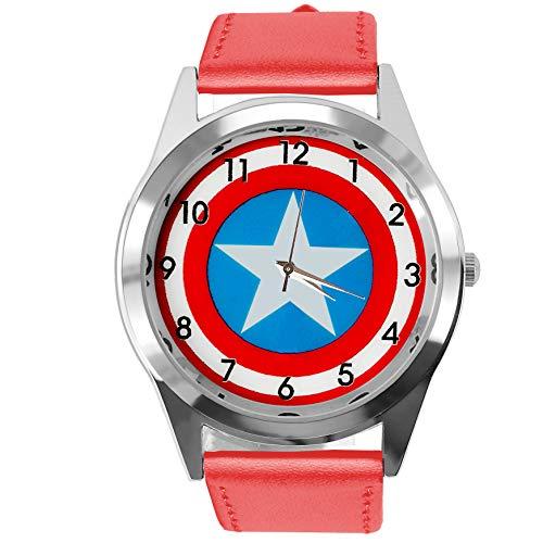 TAPORT® Rood Echt Lederen Band Quartz Horloge voor Captain America Fans