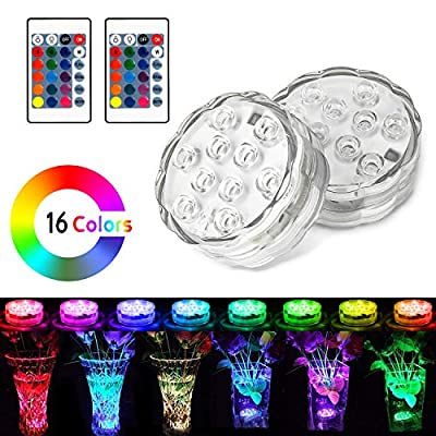 UBEGOOD Submersible LED Lights with Remote, Waterproof Bathtub Lights Battery Operated, Color Changing Decoration Light for Hot Tub, Pond, Pool, Foundation, Party