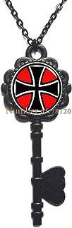 Maltese Cross Key Necklace,Maltese Cross,Cross Key Necklace,Maltese Pendant,Custom Wedding Key Necklace,Groom Key Necklace,BV051 (V3)