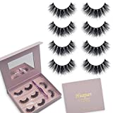 3D Mink Fur False Eyelashes Pack of 4 Pairs, Handmade Luxurious Wispy Fluffy Natural Siberian Mink Hair Lashes in Exquisite Case Package with Mirror & Tweezer