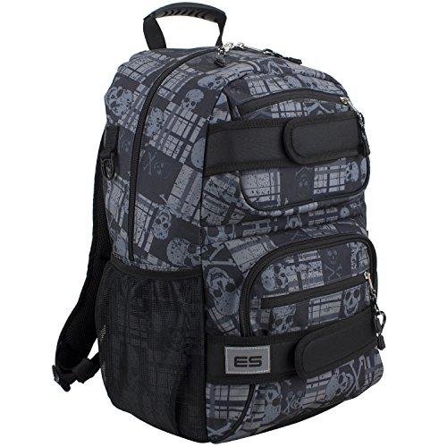 Eastsport Double Strap Skater Multipurpose Backpack, Black/Skull Plaid Print