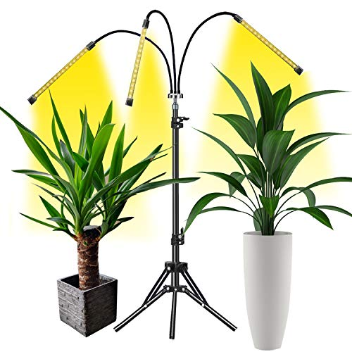 Grow Light, LED Grow Lights for Indoor Plants Full Spectrum 60W Plant Light Adjustable Tripod Stand with Timer Tri-Head Plant Lights