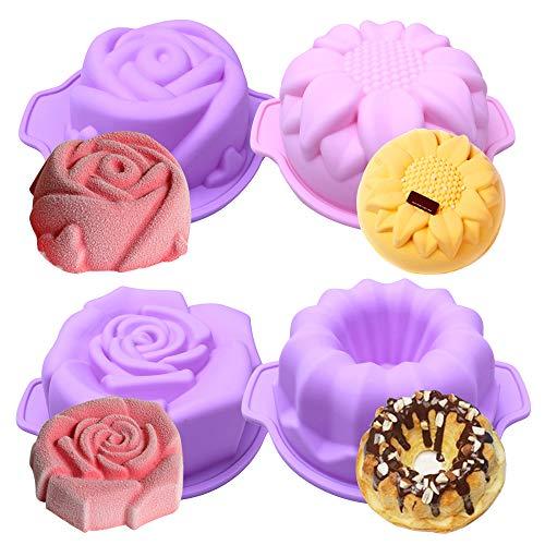 BAKER DEPOT Silikon-Backform für kleine Kuchen (4 verschiedene Blumenformen, Durchmesser: 14 cm, Set mit 4 verschiedenen Farben)