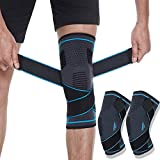1 Pair Knee Brace Sleeve with Anti-Slip Strips, Knee Compression Support Sleeve with Adjustable Strap, Knee Protector for Meniscus Tear, Arthritis, Sports Joint Pain Relief, Running,Sports