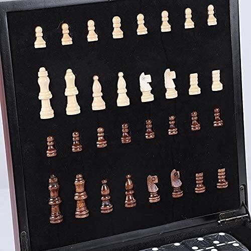 JKFZD 4 in 1 magnetische Reiseschach-Set, Fodlable Checkers Entwürfe Spielkarten Würfelspiele mit Faltbarer tragbarer Aufbewahrung (Color : B, Size : 24x24x7cm)