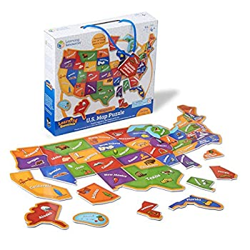 Learning Resources Magnetic U.S Map Puzzle Geography and Fine Motor Skills Puzzle 44 Pieces Ages 3+