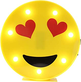 DELICORE Marquee Emoji Sign Funny LED Table Lamps Night Lights for Children Kids Bedroom Wall Decor Battery Operated & USB Charging (Heart Eyes)