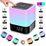 BixMe LED Bluetooth Speaker,Night Light Dimmable Wireless Speaker,Portable Wireless Bluetooth Speaker,48 LED Changing Color,Touch Control Bedside Lamp,Alarm Clock,MP3 Player,Best Electronic Gift.