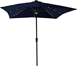C-Hopetree Outdoor Patio Market Umbrella with Solar LED Lights Large 7'6