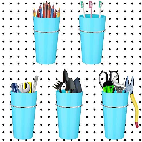 Stecktafel-Abfalleimer-Set, Stecktafel-Haken mit Aufbewahrungsbehältern, Gläsern, Bechern, Stecktafeln, Becherhalter, Organizer für Werkbank, Bastelwerkzeug und anderes Zubehör (Himmelblau)