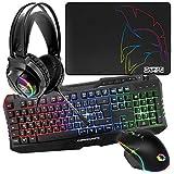 EMPIRE GAMING - Armor S-100 Pack Gamer 4 en 1 RGB - Clavier RGB AZERTY Anti-Ghosting - Micro Casque RGB - Souris RGB 6400 DPI - Tapis de Souris -PC PS4 PS5 Xbox One Mac