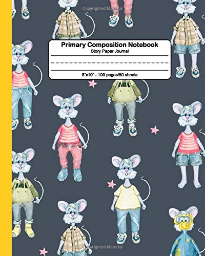 Primary Composition Notebook: Story Paper Journal & Handwriting Exercise Notebook with Dashed Mid-line - Grades K-2 Composition School Book & Diary with Drawing Space - Cool Funky Mouse Print