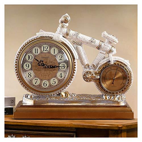 Relojes de escritorio del reloj de cabecera Reloj de la mesa de la resina creativa Reloj de la sala de estar Adornos de relojes de batería con termómetro Sweeping Second Movimiento Reloj para oficina