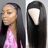 Pelucas mujer pelo humano suavecito straight wigs pelucas cabello natural larga lisa headband human peluca negra niña hair wig for black woman con cintas pelo mujer 16inch(40cm)