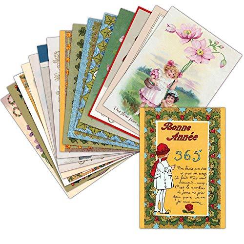 Carte de Voeux 2021 Ancienne — Lot de 16 Cartes Différentes ➽ Format Carte Postale (3 Formats Dispos) — Vintage Carte de Voeux 2021 Ancienne