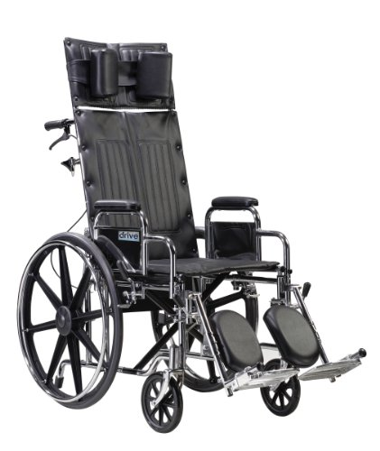 """Big Sale Best Cheap Deals Drive Medical Sentra Reclining Wheelchair with Various Arm Styles and Elevating Legrest, 22"""""""