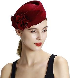 ZOO 女性のための優雅な感じの広いつばのウールのリボンの花のフロッピー帽子のベレー帽 (色 : 赤)