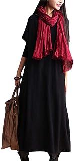 a4f9c0b1f9 YESNO AC6 Women Long Maxi Dress Flowy Casual Loose Fit Crew Neck Long Sleeve
