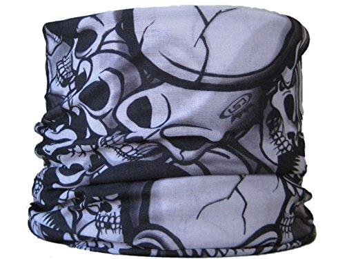 Multifonction Foulard Écharpe tube de cou tête de mort noir blanc chapeau haut