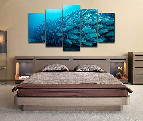 HGFDS Lienzo Impreso sobre Lienzo de 5 Piezas para Pared HD Print Peces Submarinos Buceo Mar Océano 5 Panel Canvas Pictures Poster Home Wall Decor Artwork Mural Foto