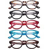 LianSan 5 Pairs Classic Readers Spring Hinged Round Reading Glasses for Men and Women L3712(+1.50)